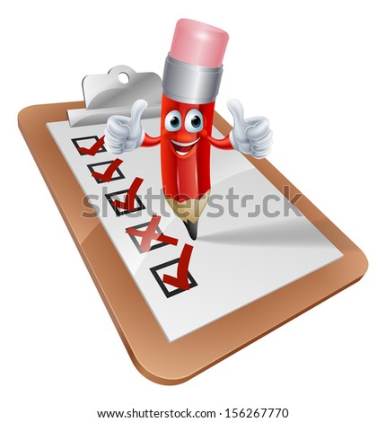 An illustration of a cartoon pencil character writing on a survey clipboard - stock vector