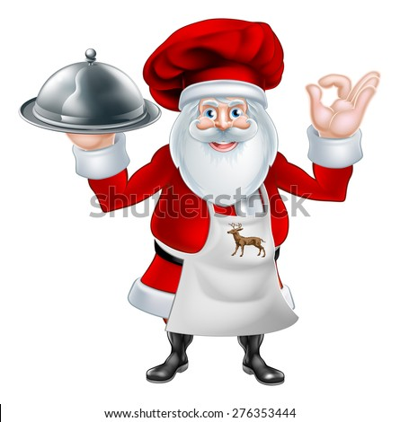 An illustration of a cartoon Santa Claus chef or cook character wearing an apron and chef hat holding a plate or platter of food - stock vector