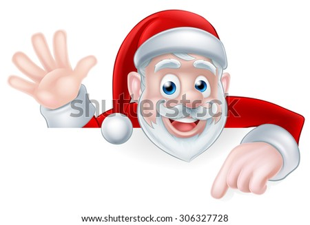 An illustration of a cartoon Santa claus waving and pointing while peeking over a sign - stock vector