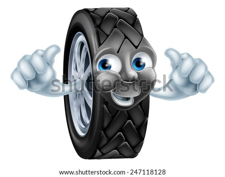 An illustration of a cartoon tire (tyre) character or mascot giving a thumbs up - stock vector