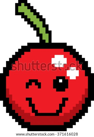 An illustration of a cherry winking in an 8-bit cartoon style. - stock vector
