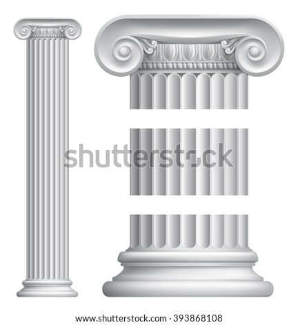 An illustration of a classic Greek or Roman ionic column pillar - stock vector