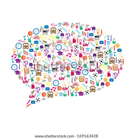 An illustration of a collage of Back to School buzz words and icons forming the shape of a talk bubble