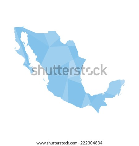 An Illustration of a colourfully filled outline of Mexico - stock vector