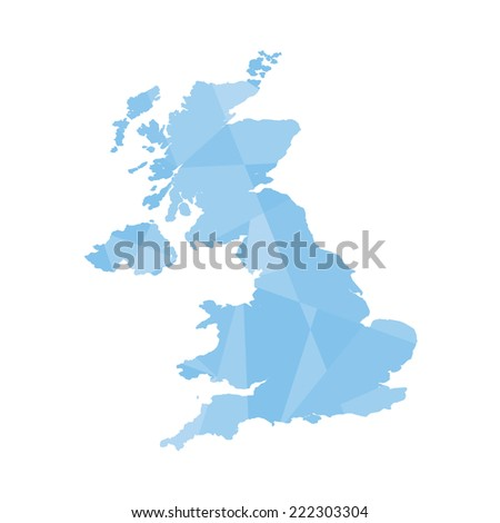 An Illustration of a colourfully filled outline of United Kingdom - stock vector