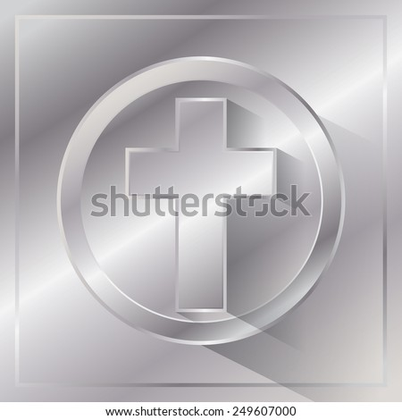 An illustration of a cross on a metal background. Vector EPS 10. - stock vector