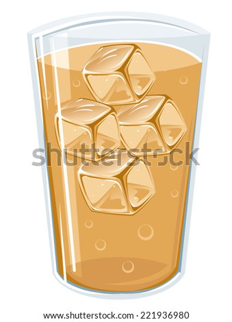 An Illustration of a cup full with ice and beverage - stock vector