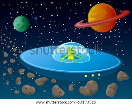 An illustration of a cute alien flying in a spaceship. - stock vector