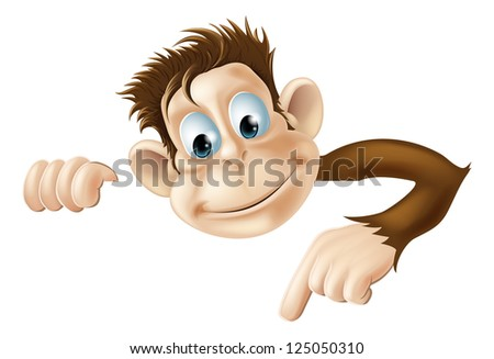 An illustration of a cute cartoon monkey peeking round from behind a sign and pointing or showing what it says - stock vector