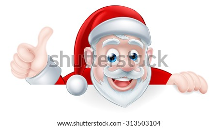 An illustration of a cute cartoon Santa peeking above a sign giving a thumbs up - stock vector