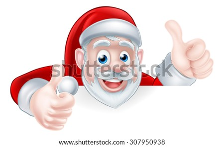 An illustration of a cute Cartoon Santa peeking over a sign giving a double thumbs up - stock vector
