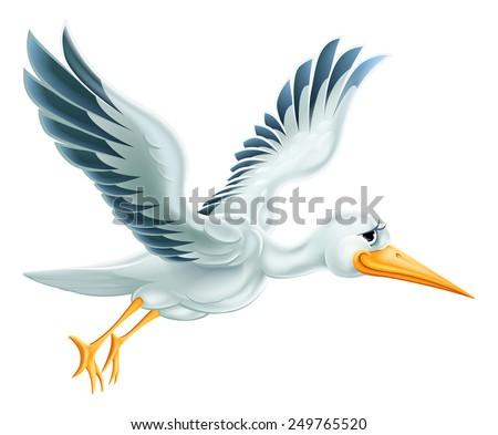 An illustration of a cute cartoon Stork bird character flying through the air - stock vector