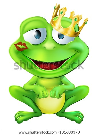 An illustration of a cute frog cartoon character wearing a gold crown with a red lipstick mark on his lips form a kiss - stock vector