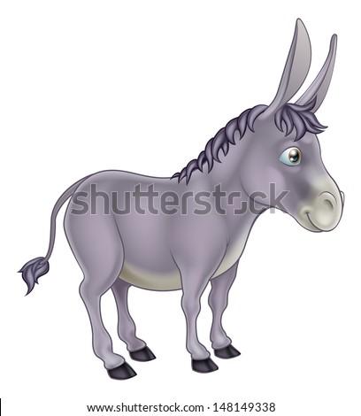 An illustration of a cute grey cartoon donkey character - stock vector