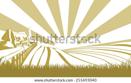 An illustration of a farm house thatched cottage in an idyllic landscape of rolling hills - stock vector
