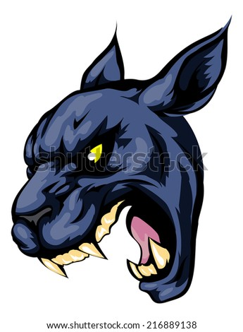 An illustration of a fierce black panther animal character or sports mascot - stock vector