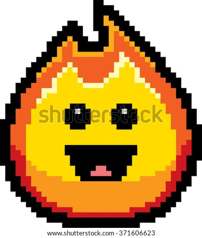 An illustration of a flame smiling in an 8-bit cartoon style.