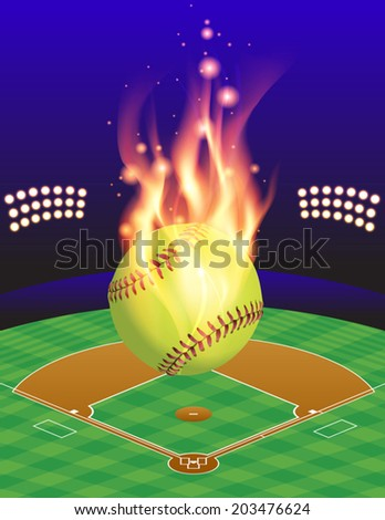 An illustration of a flaming softball above an aerial view of a softball field. Vector EPS 10 contains transparencies and gradient mesh. - stock vector