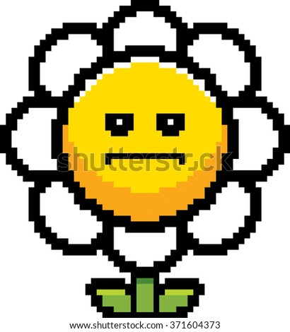 An illustration of a flower looking serious in an 8-bit cartoon style.