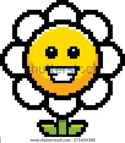 An illustration of a flower smiling in an 8-bit cartoon style. - stock vector