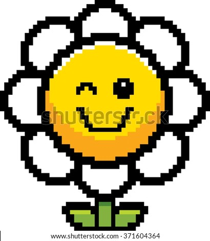 An illustration of a flower winking in an 8-bit cartoon style. - stock vector