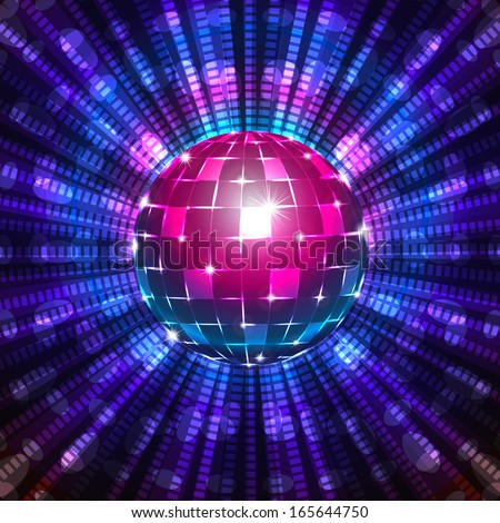 An illustration of a fluorescent disco ball. Includes transparent objects, clipping mask and blending modes. Layered.  - stock vector