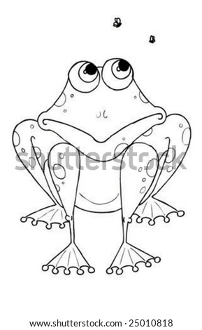 an illustration of a frog drawn by hand - stock vector