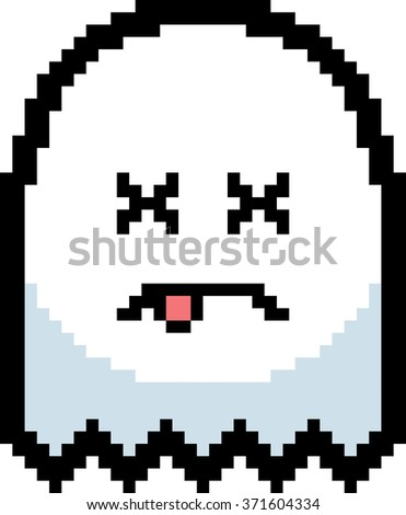 An illustration of a ghost looking dead in an 8-bit cartoon style. - stock vector