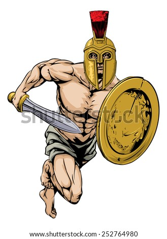 An illustration of a gladiator warrior character or sports mascot  in a trojan or Spartan style helmet holding a sword and shield  - stock vector