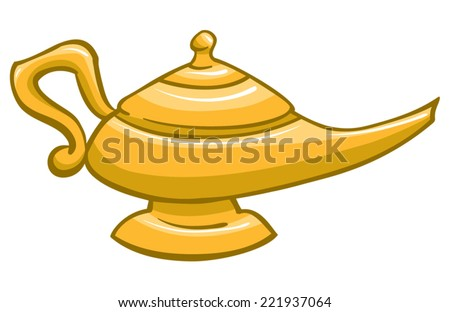 An Illustration of a gold genie lamp - stock vector