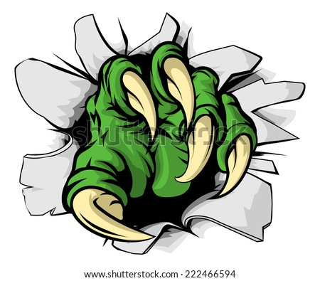 An illustration of a green monster claw ripping or tearing through a hole - stock vector