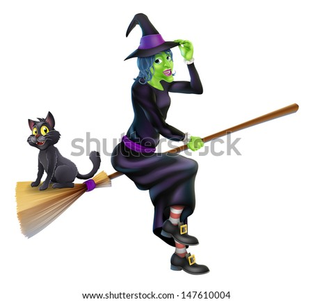 An illustration of a Halloween Witch with her black cat flying on her magic Broomstick - stock vector