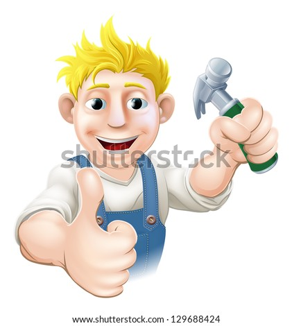 An illustration of a happy cartoon carpenter or construction guy holding a hammer - stock vector