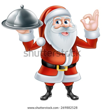An illustration of a happy cartoon Santa Claus holding a plate of food and giving a perfect hand gesture - stock vector