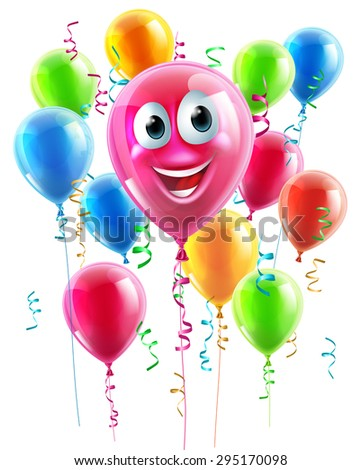 An illustration of a happy cute balloon cartoon character with lots of other balloons in the background - stock vector