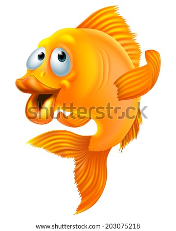 An illustration of a happy goldfish cartoon character waving - stock vector