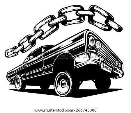 An Illustration of a Low Rider Car and a Chain - stock vector