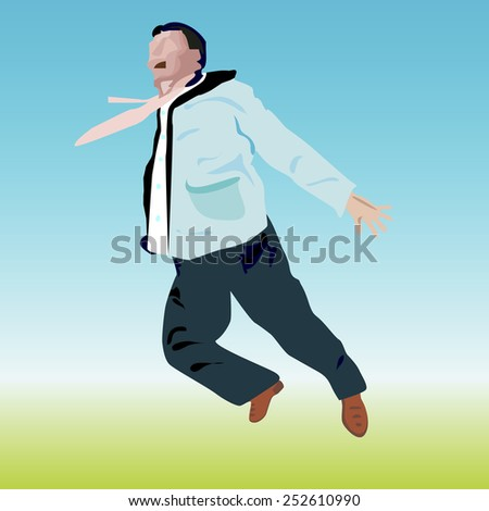 an illustration of a man outside in casual clothes , but in office shirt with waving tie, who is jumping  up, leaving his hands apart and keeping his mouth wide open on schematic drawn face - stock vector