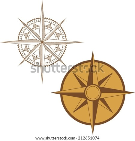 An Illustration of a Map Compass on White Background - stock vector