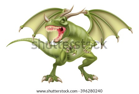 An illustration of a mean looking fantasy fairy tale green dragon - stock vector