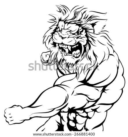 An illustration of a mean looking lion animal sports mascot punching - stock vector