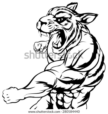 An illustration of a mean looking tiger animal sports mascot punching - stock vector