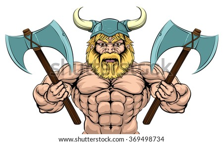 An illustration of a mean looking Viking Warrior with two axes - stock vector