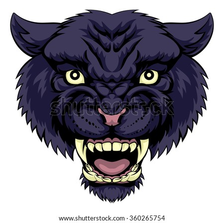 An illustration of a mean powerful black panther animal face - stock vector