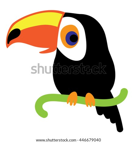 An illustration of a nice toucan in vector format. A cute toucan bird image for kid's education and fun in nursery and schools, and decoration purposes. Jungle animals collection - stock vector