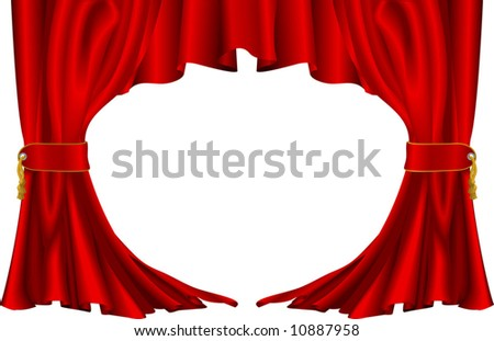An illustration of a pair of red theatre style curtains - stock vector