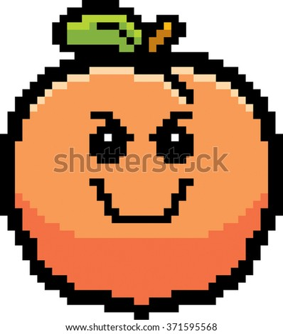 An illustration of a peach looking evil in an 8-bit cartoon style. - stock vector