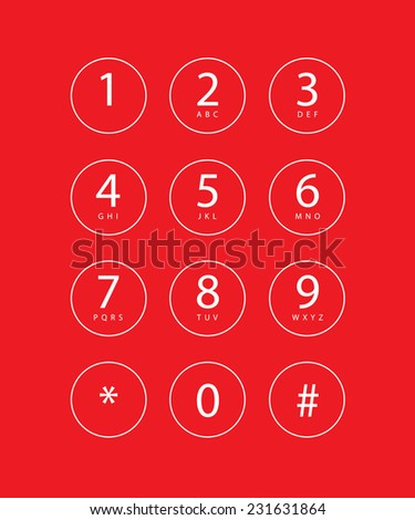 An Illustration of a phone keypad for a touchscreen device - stock vector