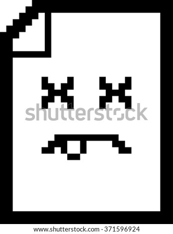 An illustration of a piece of paper looking dead in an 8-bit cartoon style. - stock vector