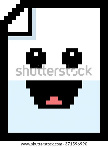 An illustration of a piece of paper smiling in an 8-bit cartoon style. - stock vector